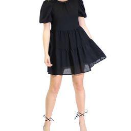 Puff-Sleeve Ruffle-Hem Babydoll Dress | Macys (US)