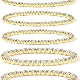 Gold Bead Bracelet for Women,14K Gold Plated Bead Ball Bracelet Stretchable Elastic Bracelet   Amazon (US)