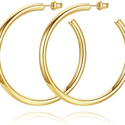 Howoo 14K Gold Plated Chunky Gold Hoops High Polished Gold Hoop Earrings for Women | Amazon (US)