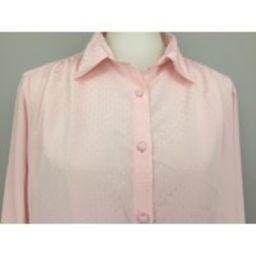 Light Pink Blouse Plus Size 1x 2x Long Sleeve Button Up Minimalist Pastel 1970S Vintage Clothing Wom | Etsy (US)