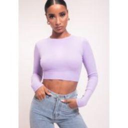 Ribbed Tie Open Back Tie Long Sleeve Crop Top Purple | Lily Lulu Fashion