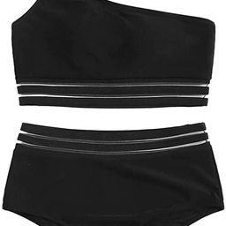 SweatyRocks Women's 2 Pieces Mesh One Shoulder Top with High Waist Bikini Set | Amazon (US)