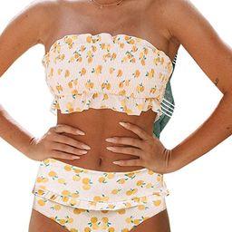 Eytino Women Printed Strapless Shirred Smocked High Cut Bandeau Two Pieces Bikini Set Swimsuit(S-... | Amazon (US)