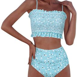 RXRXCOCO Womens Shirred Bandeau Bikini Cute Two Piece Swimsuit Off Shoulder High Waist Bathing Su... | Amazon (US)