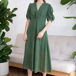 Twist V-Neck Buttoned Eyelet Dress in Green | Chicwish