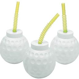Golf Ball Cups with Straws - Set of 12, each holds 14 oz - Golf Party Drinking Supplies   Amazon (US)