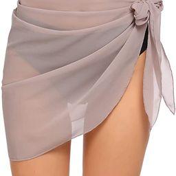 Ekouaer Women Short Sarongs Beach Wrap Sheer Bikini Wraps Chiffon Cover Ups for Swimwear S-3XL | Amazon (US)