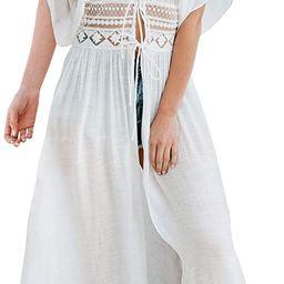 FANCYINN Womens Long Lace Cover up Sheer Bikini Coverups Kimono Tie Front Bathing Suit Swimsuit B... | Amazon (US)