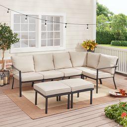 Mainstays Sandhill 7-Piece Outdoor Patio Sectional Set, Beige | Walmart (US)