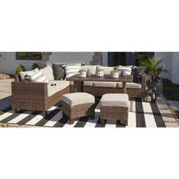Better Homes & Gardens Brookbury Wicker Sectional Sofa Patio Dining Set, 5 Pieces | Walmart (US)