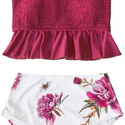 CUPSHE Women's High Waist Bikini Swimsuit Ruffle Smock Floral Print Two Piece Bathing Suit | Amazon (US)