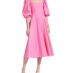 Swells Puff-Sleeve Midi Dress | Neiman Marcus