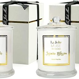 Scented Candles Pack 2 Plumeria and Jasmine, 20 Ounce, Natural Soy Wax, Holiday Candle Gifts for ... | Amazon (US)