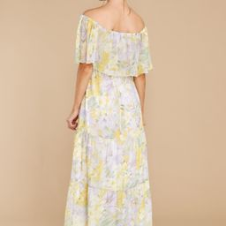 Washed Memories White And Yellow Floral Print Maxi Dress   Red Dress