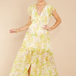 You're My Love Yellow And White Floral Print Maxi Dress   Red Dress