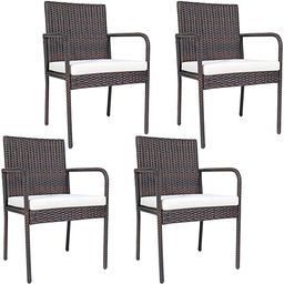 PATIOJOY Outdoor Patio Wicker Chairs Set of 4, with Heavy Duty Steel Frame and Soft Cushions, All... | Amazon (US)