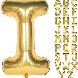 Letter Balloons 40 Inch Giant Jumbo Helium Foil Mylar for Party Decorations Gold I   Amazon (US)