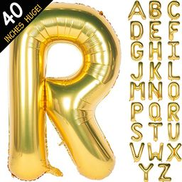 """Letter Balloons 40 Inch Giant Jumbo Helium Foil Mylar for Party Decorations Gold (Letter R, 40"""" G...   Amazon (US)"""