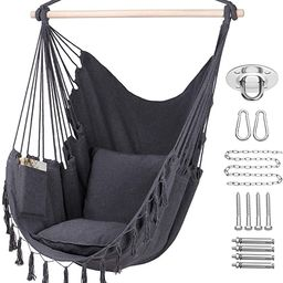 Y- STOP Hammock Chair Hanging Rope Swing, Max 330 Lbs, 2 Cushions Included-Large Macrame Hanging ... | Amazon (US)