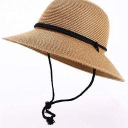 Womens Wide Brim Sun Hat with Wind Lanyard UPF Summer Straw Sun Hats for Women | Amazon (US)