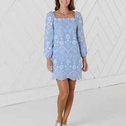 Embroidered Square Neck Long Sleeve Dress | Sail to Sable