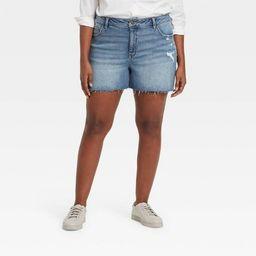 Women's Plus Size Destructed Midi Jean Shorts  - Ava & Viv™ | Target
