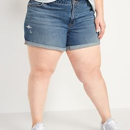 Mid-Rise Ripped Boyfriend Plus-Size Jean Shorts -- 5-inch inseam | Old Navy (US)