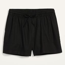 High-Waisted Linen-Blend Tie-Front Plus-Size Utility Shorts -- 5-inch inseam | Old Navy (US)
