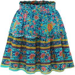 Bbonlinedress Women's Mini Floral Ruffle Skirt High Waist Summer Boho Short Skater Skirt   Amazon (US)