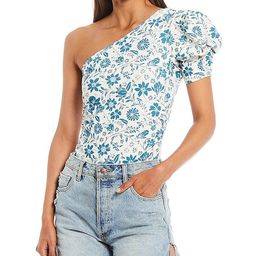 Somethin Bout You Floral One Shoulder Puff Sleeve Bodysuit | Dillards