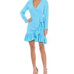 Georgina Long Sleeve Ruffle Wrap Dress   Dillards