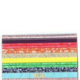 Party Multi Stripe Rainbow Glitter Envelope Clutch   Dillards