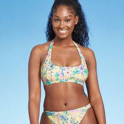 Juniors' Halter Bralette Bikini Top - Xhilaration™ Yellow Tropical Print | Target