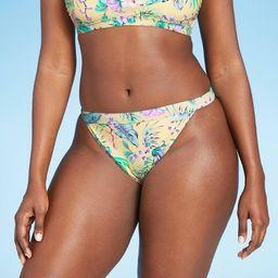 Juniors' Cheeky Mid Waist Bikini Bottom - Xhilaration™ Yellow Tropical Print | Target