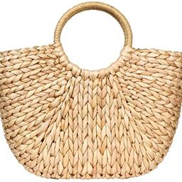Summer Rattan Bag for Women Straw Hand-woven Top-handle Handbag Beach Sea Straw Rattan Tote Clutc... | Amazon (US)