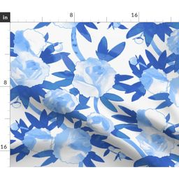 Chinoiserie Blue Watercolor Floral And White Fabric Printed by Spoonflower BTY | Walmart (US)