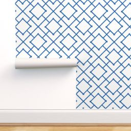 Peel-and-Stick Removable Wallpaper Blue Bamboo Trellis And White Chinoiserie | Walmart (US)