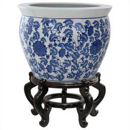 "Oriental Furniture 14"" Floral Blue & White Porcelain Fishbowl | Walmart (US)"
