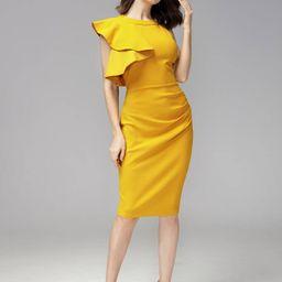 MIUSOL Exaggerated Ruffle Trim Split Hem Dress   SHEIN