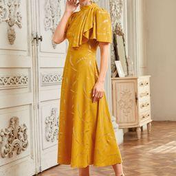 Gilding Print Stand Collar Dress   SHEIN