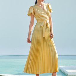 SHEIN Surplice Neck Flutter Sleeve Pleated Satin Dress   SHEIN