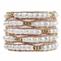 Freshwater Pearls with Gold Accent on Natural | Victoria Emerson