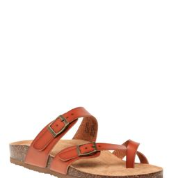 Time and Tru Women's Toe Thong Footbed Slide Sandals, Wide Width Available | Walmart (US)