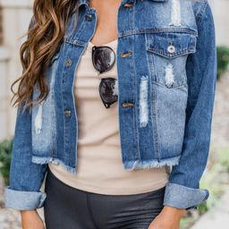 A New Chapter Distressed Denim Jacket Blue | The Pink Lily Boutique