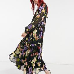 ASOS DESIGN high neck tiered maxi dress in bold floral-Multi | ASOS (Global)