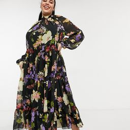 ASOS DESIGN Curve high neck tiered maxi dress in bold winter floral-Multi | ASOS (Global)