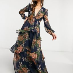 ASOS DESIGN maxi dress with long sleeve and circle trim in floral print and embellishment-Multi | ASOS (Global)