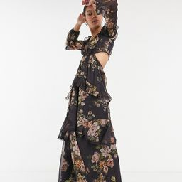 ASOS DESIGN Tall maxi dress with long sleeve and circle trim in floral print and embellishment in br | ASOS (Global)