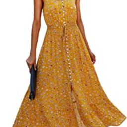 Women Summer Spaghetti Strap V Neck Polka Dot Floral Print A-Line Button Down Casual Sleeveless S... | Amazon (US)