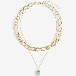 Double Layer Chain and Pendant Drop Necklace$24.00$24.00turquoise 463$24.00Turquoise 463Size Char... | Express